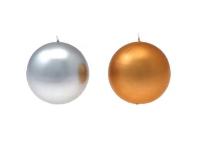 CANDELA SFERA oro/argento d. 80 mm
